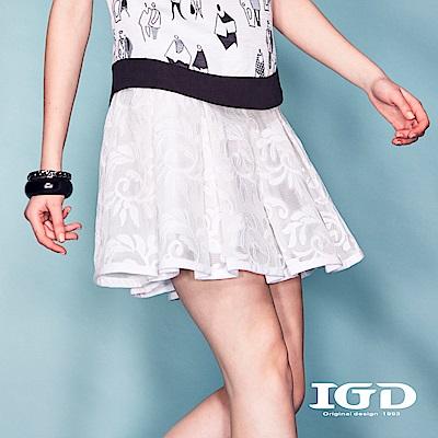 IGD英格麗 韓式悠閒風蕾絲刺繡網布抓摺A字短裙-白