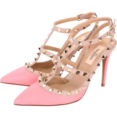 VALENTINO ROCKSTUD 鉚釘繫帶高跟鞋(蜜粉色)