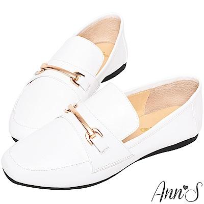Ann'S成熟日子-金屬扣飾真皮柔軟綿羊皮紳士平底鞋-白
