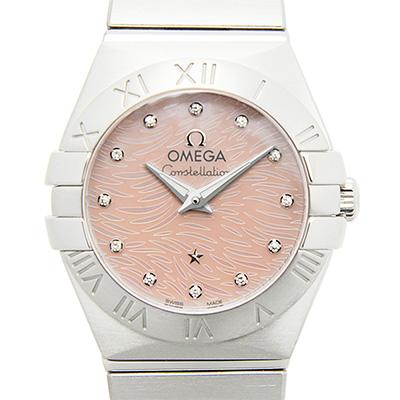 OMEGA 歐米茄 Constellation 星座系列短波紋珊瑚色珍珠母腕錶-24mm