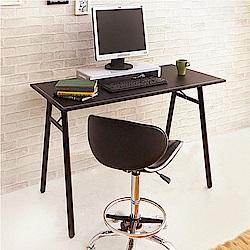 澄境 義式馬鞍皮革90公分附集線孔A字型工作桌(90x60x76cm)-DIY