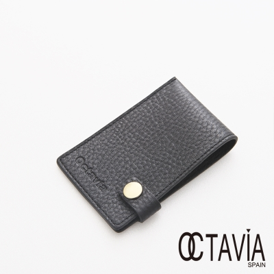 OCTAVIA 8 真皮 - JUST SIMPLE 扁式原皮壓扣名片夾 - 我的黑