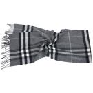 BURBERRY HERITAGE 深灰色格紋喀什米爾圍巾(100%CASHMERE)