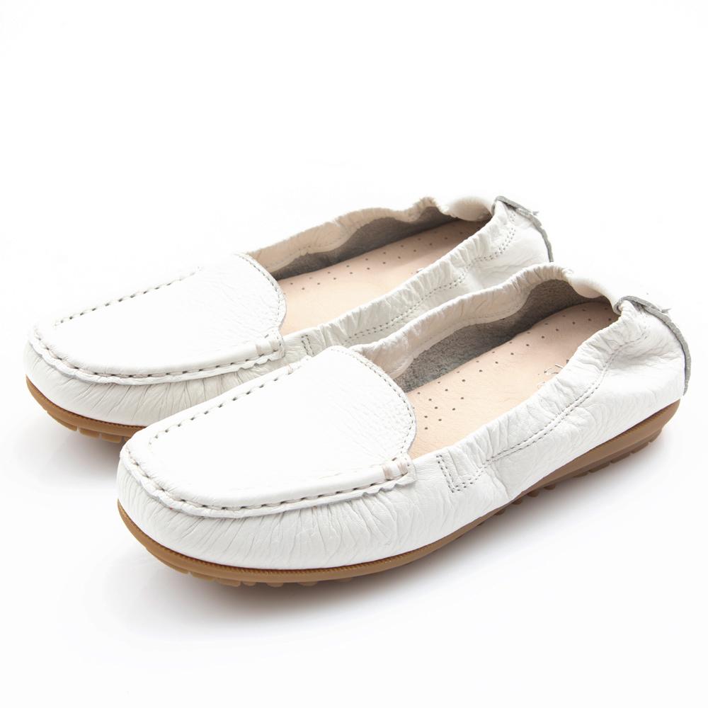 G.Ms. MIT極好穿再進化-軟Q牛皮莫卡辛休閒鞋-純白