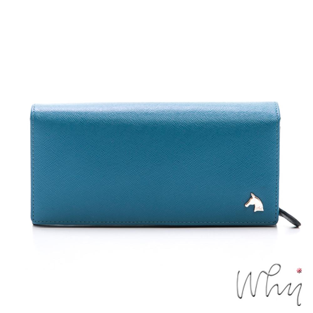 WHY金屬馬頭LOGO標誌高級樹羔牛皮 短皮夾附零錢袋 WS1523-BLNV