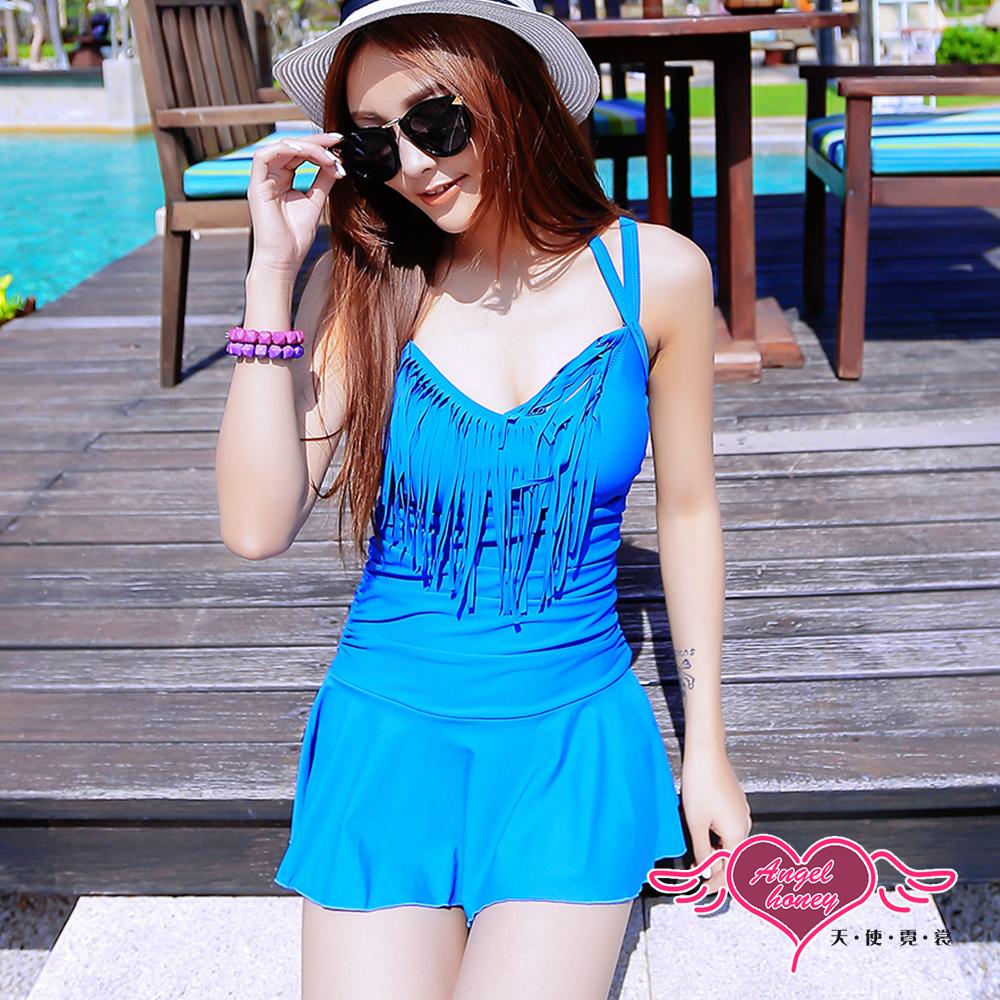 泳衣 沁涼一夏 一件式連身泳裝(寶藍M~2L) AngelHoney天使霓裳