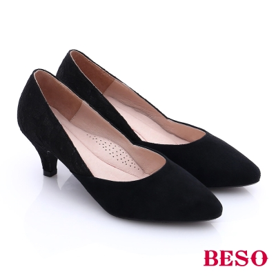 BESO-都會摩登-絨面蕾絲尖楦低跟鞋-黑色
