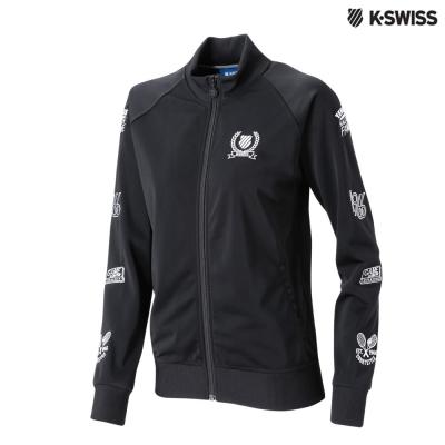 K-Swiss Zip Jkt W/Emb Patchs長袖外套-女-黑