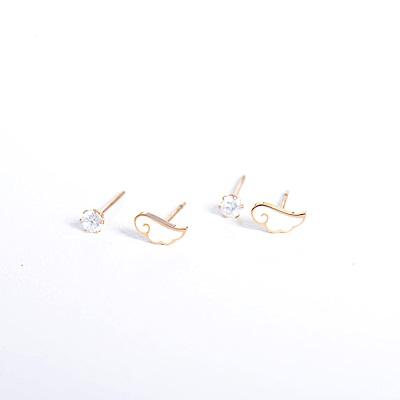 微醺禮物 正韓 低過敏 鋼針 鋼飾 翅膀 兩顆鋯石 四個一組 耳針 耳環