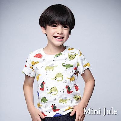 Mini Jule 童裝-上衣 彩色多款恐龍短袖竹節棉T(米白)