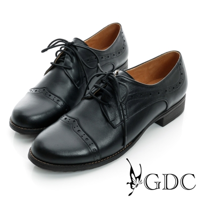 GDC復古-牛津紳士繫帶真皮低跟鞋-黑色