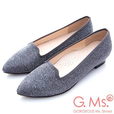 G.Ms. MIT系列-銀紗織布尖頭樂福平底鞋-銀色