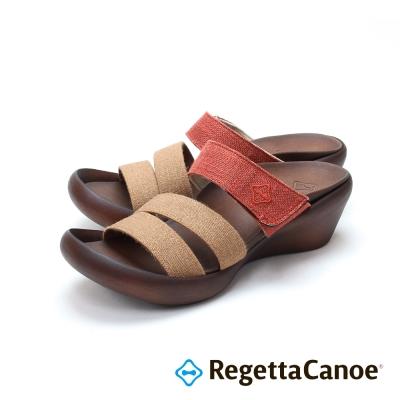 RegettaCanoe-三條寬帶 楔型跟底樂步鞋-磚紅色