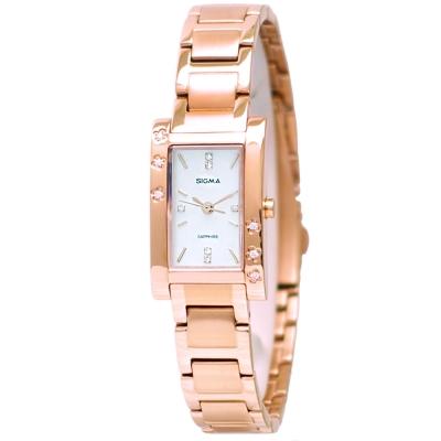 SIGMA 閃耀晶鑽簡約時尚手錶-玫瑰金/18mm