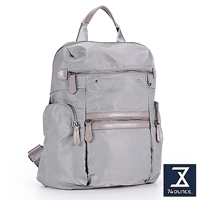 74盎司 真皮尼龍多口袋造型後背包[LG-808]深灰