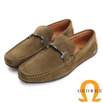 GEORGE 喬治-真皮結飾縫線樂福鞋休閒鞋(男)-駝色