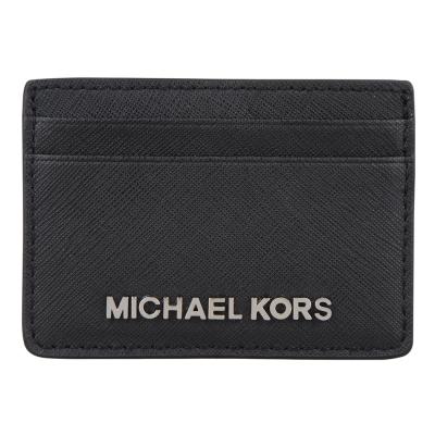 MICHAEL KORS 銀字防刮皮革卡片夾(黑)