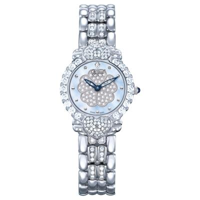 Ogival瑞士愛其華 山茶花系列女王style時尚真鑽腕錶-藍/27mm