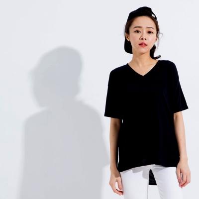 101原創 素色V領側開岔寬鬆長版T恤上衣-共3色