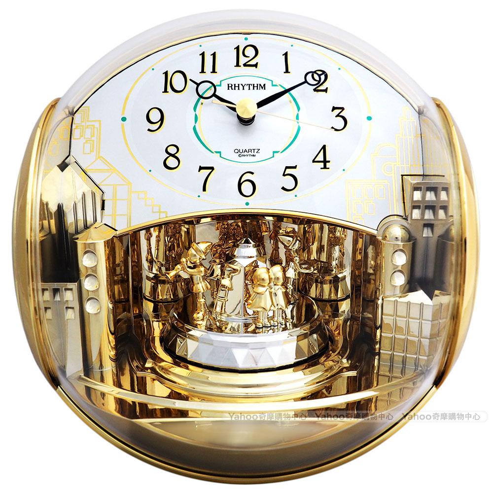 RHYTHM日本麗聲 小世界宮廷樂隊圓形裝飾座鐘/20cm