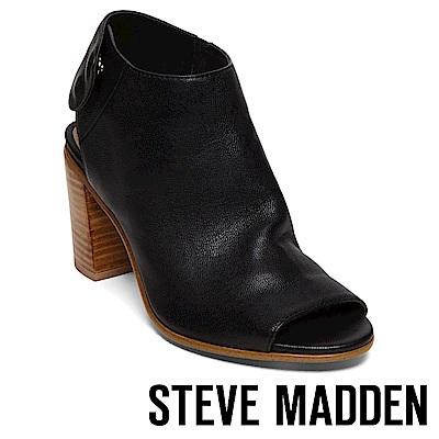 STEVE MADDEN-NONSTP 魔鬼氈式露趾粗高跟鞋-黑色