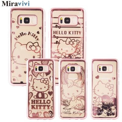三麗鷗Samsung Galaxy S8時尚質感電鍍雷雕保護套-Kitty