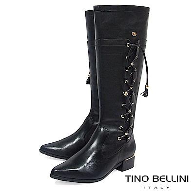 Tino Bellini 巴西進口復古情調綁帶低跟長靴_ 黑