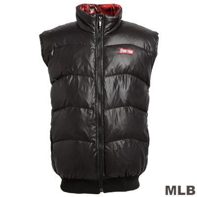 MLB-波士頓紅襪隊立領雙面穿羽絨背心-紅格紋(男)