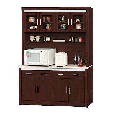 品家居 捷特利5.3尺胡桃木紋石面餐櫃組合-156.7x42x206.3cm免組