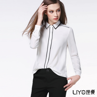 LIYO理優歐風線條雪紡襯衫(白色)