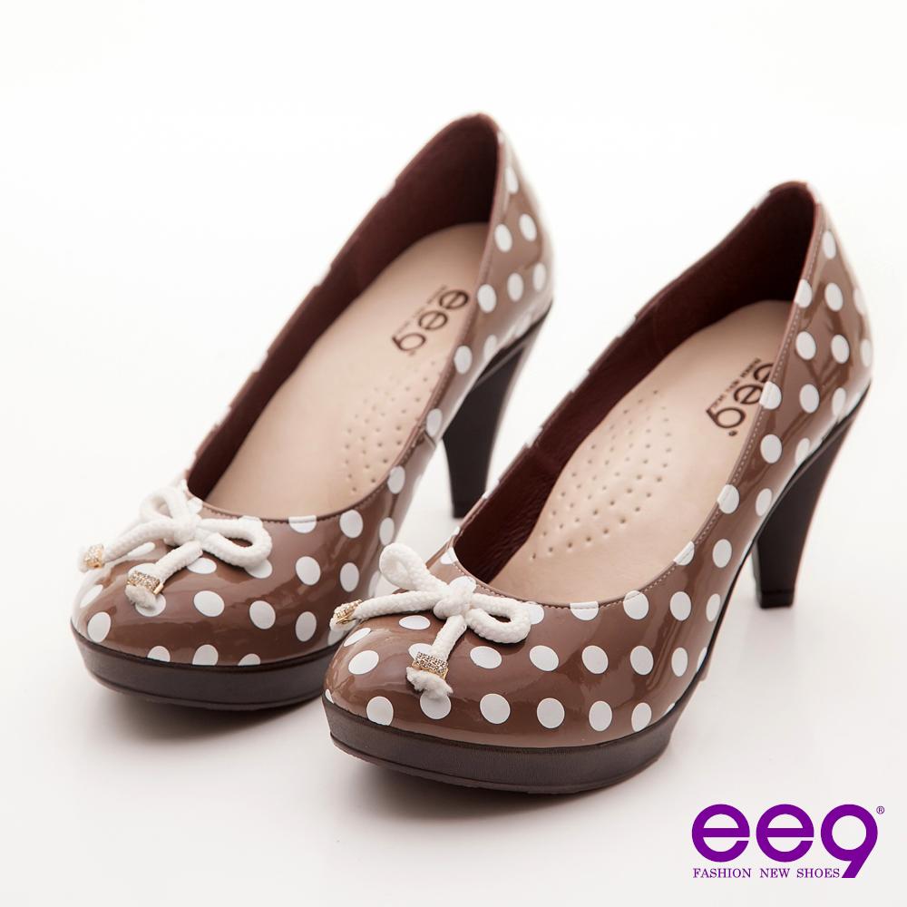 ee9 心滿益足~點點圓舞曲水鑽釦蝴蝶結高跟鞋~俏皮芋褐