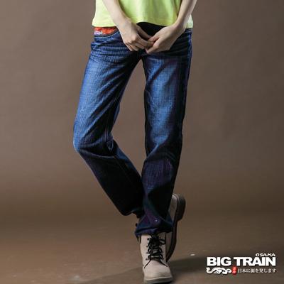 【BIG TRAIN】女款 配布福帶情侶垮褲(深藍)