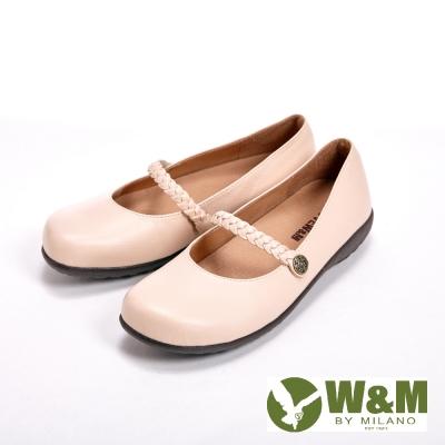 W-M-優雅麻花辮-素色小牛皮-女鞋-米-另有黑
