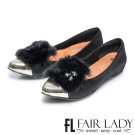 Fair Lady 奢華毛毛水鑽拼接尖頭平底鞋 黑