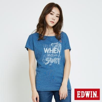 EDWIN 椰林海洋印花寬版T恤-女-藍色