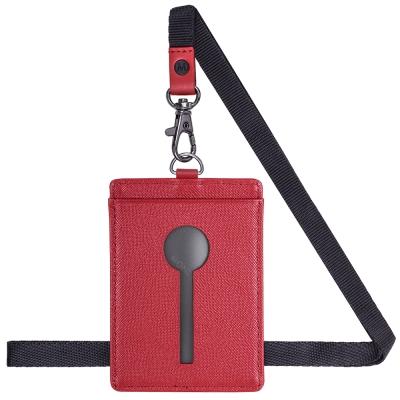 MONDAINE 瑞士國鐵直式鏤空牛皮證件套-十字紋紅