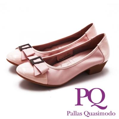 PQ Lady名媛系列 方鑽蝴蝶結造型 女跟鞋-氣質粉(另有黑、金屬灰)