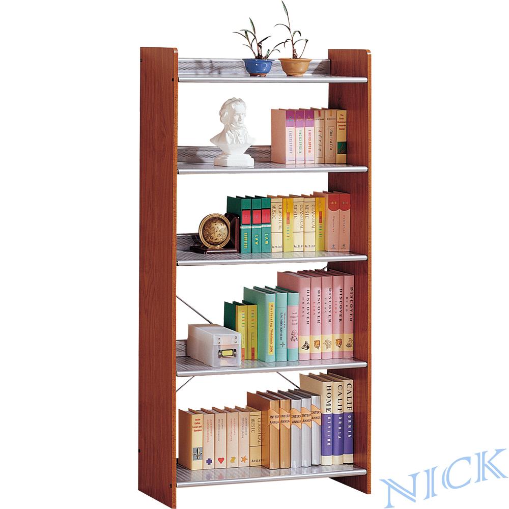 NICK 實木貼皮木製五層書架(78.6×30) / 二色