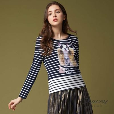 OUWEY歐薇 時尚拜金犬條紋上衣(藍)