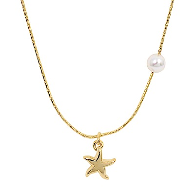 Majorica西班牙珠寶 海星珍珠金色項鍊