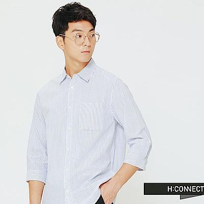 H:CONNECT 韓國品牌 男裝-口袋設計棉質襯衫-深藍