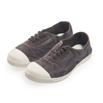 (女)Natural World 西班牙休閒鞋 刷色4孔綁帶基本款*鐵灰色