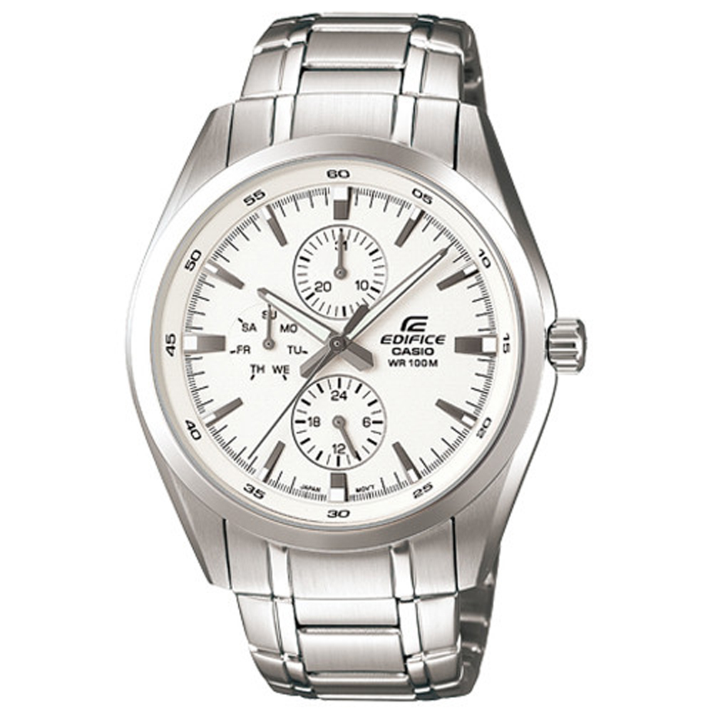 EDIFICE 時尚品味極簡指針腕錶(EF-338D-7)-白/42mm