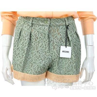 MOSCHINO 綠色蕾絲拼接短褲