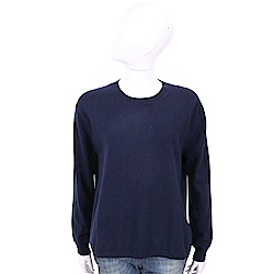 ALLUDE 喀什米爾深藍純色極簡針織羊毛衫