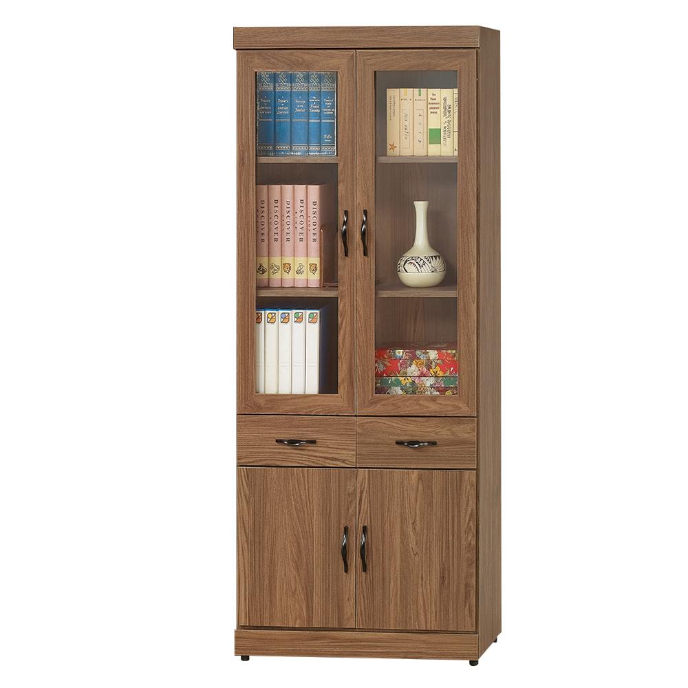Boden-莫拉2.7尺簡約工業風二抽四門書櫃/收納櫃-80x33x180cm