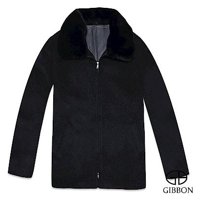 GIBBON 羊毛大衣英倫紳士氣質毛領款‧浩夜黑