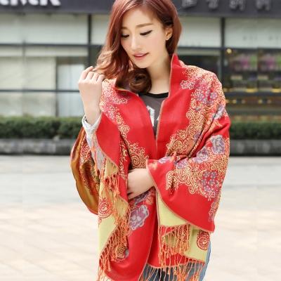 Seoul-Show-牡丹花映棉質編織圍巾披肩-橘紅