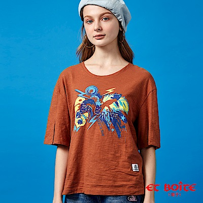 ETBOITE 箱子 BLUE WAY 夏日音樂派對印花開衩袖T恤-咖啡