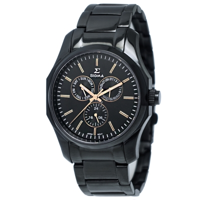 SIGMA 簡約藍寶石鏡面三眼時尚手錶-黑X玫瑰金/42mm